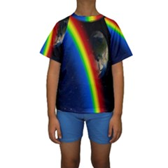 Rainbow Earth Outer Space Fantasy Carmen Image Kids  Short Sleeve Swimwear