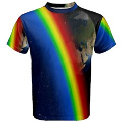 Rainbow Earth Outer Space Fantasy Carmen Image Men s Cotton Tee