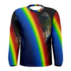 Rainbow Earth Outer Space Fantasy Carmen Image Men s Long Sleeve Tee