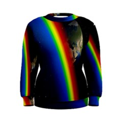 Rainbow Earth Outer Space Fantasy Carmen Image Women s Sweatshirt