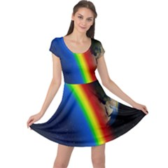 Rainbow Earth Outer Space Fantasy Carmen Image Cap Sleeve Dresses