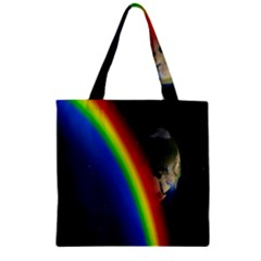 Rainbow Earth Outer Space Fantasy Carmen Image Zipper Grocery Tote Bag