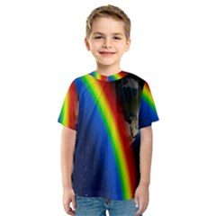 Rainbow Earth Outer Space Fantasy Carmen Image Kids  Sport Mesh Tee