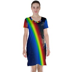 Rainbow Earth Outer Space Fantasy Carmen Image Short Sleeve Nightdress
