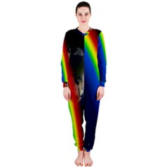 Rainbow Earth Outer Space Fantasy Carmen Image OnePiece Jumpsuit (Ladies)