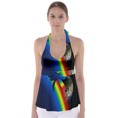 Rainbow Earth Outer Space Fantasy Carmen Image Babydoll Tankini Top