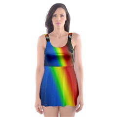 Rainbow Earth Outer Space Fantasy Carmen Image Skater Dress Swimsuit