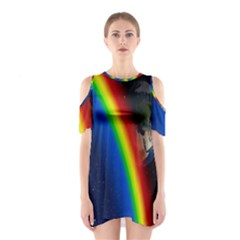 Rainbow Earth Outer Space Fantasy Carmen Image Shoulder Cutout One Piece
