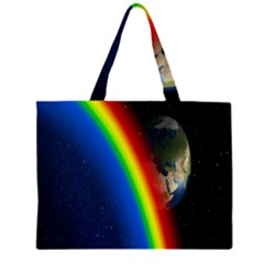 Rainbow Earth Outer Space Fantasy Carmen Image Zipper Large Tote Bag