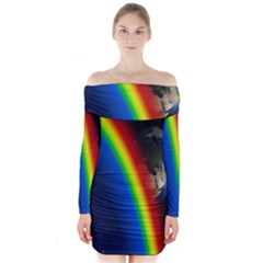 Rainbow Earth Outer Space Fantasy Carmen Image Long Sleeve Off Shoulder Dress