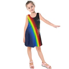 Rainbow Earth Outer Space Fantasy Carmen Image Kids  Sleeveless Dress