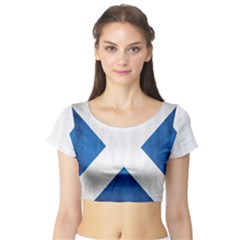 Scotland Flag Surface Texture Color Symbolism Short Sleeve Crop Top (Tight Fit)