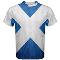 Scotland Flag Surface Texture Color Symbolism Men s Cotton Tee
