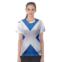 Scotland Flag Surface Texture Color Symbolism Women s Sport Mesh Tee