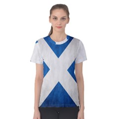 Scotland Flag Surface Texture Color Symbolism Women s Cotton Tee