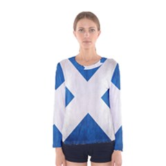 Scotland Flag Surface Texture Color Symbolism Women s Long Sleeve Tee