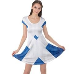 Scotland Flag Surface Texture Color Symbolism Cap Sleeve Dresses