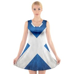 Scotland Flag Surface Texture Color Symbolism V-Neck Sleeveless Skater Dress