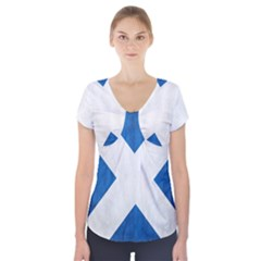 Scotland Flag Surface Texture Color Symbolism Short Sleeve Front Detail Top