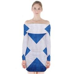 Scotland Flag Surface Texture Color Symbolism Long Sleeve Off Shoulder Dress