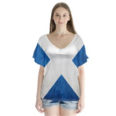 Scotland Flag Surface Texture Color Symbolism Flutter Sleeve Top
