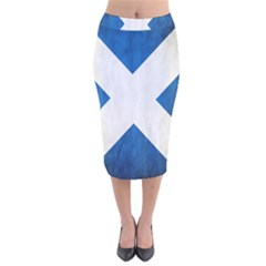 Scotland Flag Surface Texture Color Symbolism Velvet Midi Pencil Skirt