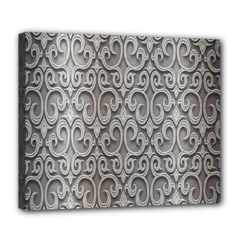 Patterns Wavy Background Texture Metal Silver Deluxe Canvas 24  x 20