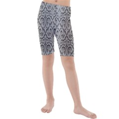 Patterns Wavy Background Texture Metal Silver Kids  Mid Length Swim Shorts