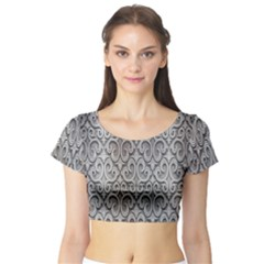 Patterns Wavy Background Texture Metal Silver Short Sleeve Crop Top (Tight Fit)