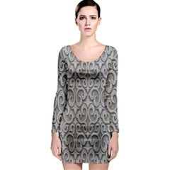 Patterns Wavy Background Texture Metal Silver Long Sleeve Bodycon Dress