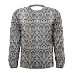 Patterns Wavy Background Texture Metal Silver Men s Long Sleeve Tee