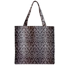 Patterns Wavy Background Texture Metal Silver Zipper Grocery Tote Bag