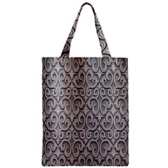 Patterns Wavy Background Texture Metal Silver Zipper Classic Tote Bag
