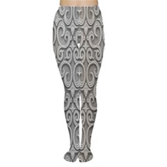 Patterns Wavy Background Texture Metal Silver Women s Tights