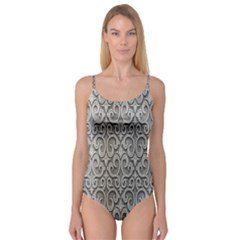 Patterns Wavy Background Texture Metal Silver Camisole Leotard