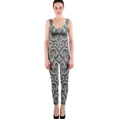 Patterns Wavy Background Texture Metal Silver OnePiece Catsuit