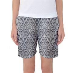 Patterns Wavy Background Texture Metal Silver Women s Basketball Shorts