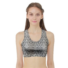 Patterns Wavy Background Texture Metal Silver Sports Bra with Border