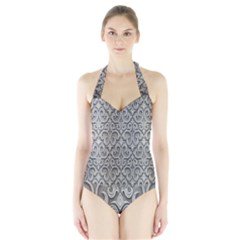 Patterns Wavy Background Texture Metal Silver Halter Swimsuit