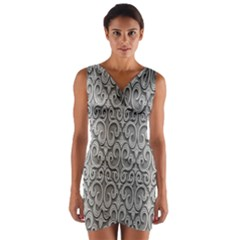 Patterns Wavy Background Texture Metal Silver Wrap Front Bodycon Dress