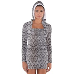 Patterns Wavy Background Texture Metal Silver Women s Long Sleeve Hooded T Shirt