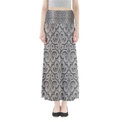 Patterns Wavy Background Texture Metal Silver Maxi Skirts