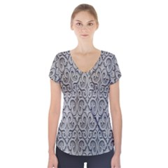 Patterns Wavy Background Texture Metal Silver Short Sleeve Front Detail Top
