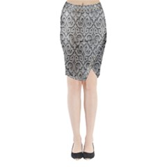 Patterns Wavy Background Texture Metal Silver Midi Wrap Pencil Skirt