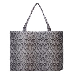 Patterns Wavy Background Texture Metal Silver Medium Tote Bag