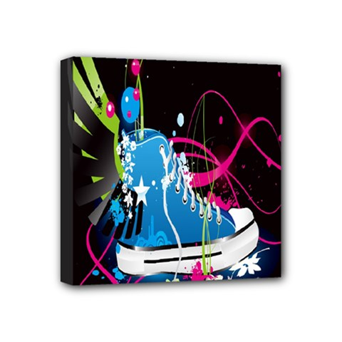 Sneakers Shoes Patterns Bright Mini Canvas 4  x 4