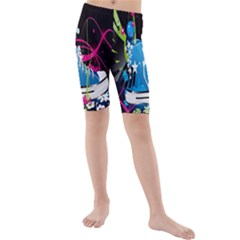 Sneakers Shoes Patterns Bright Kids  Mid Length Swim Shorts