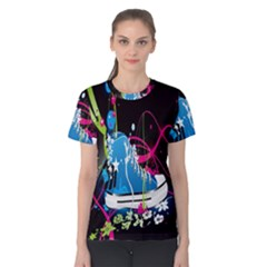 Sneakers Shoes Patterns Bright Women s Cotton Tee