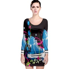 Sneakers Shoes Patterns Bright Long Sleeve Bodycon Dress