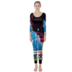 Sneakers Shoes Patterns Bright Long Sleeve Catsuit